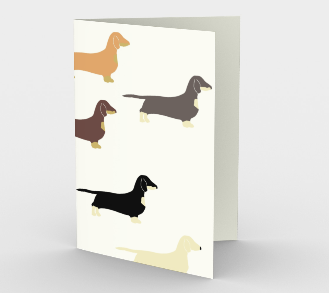 Dachshund all colors silhouettes stationary greeting card preview