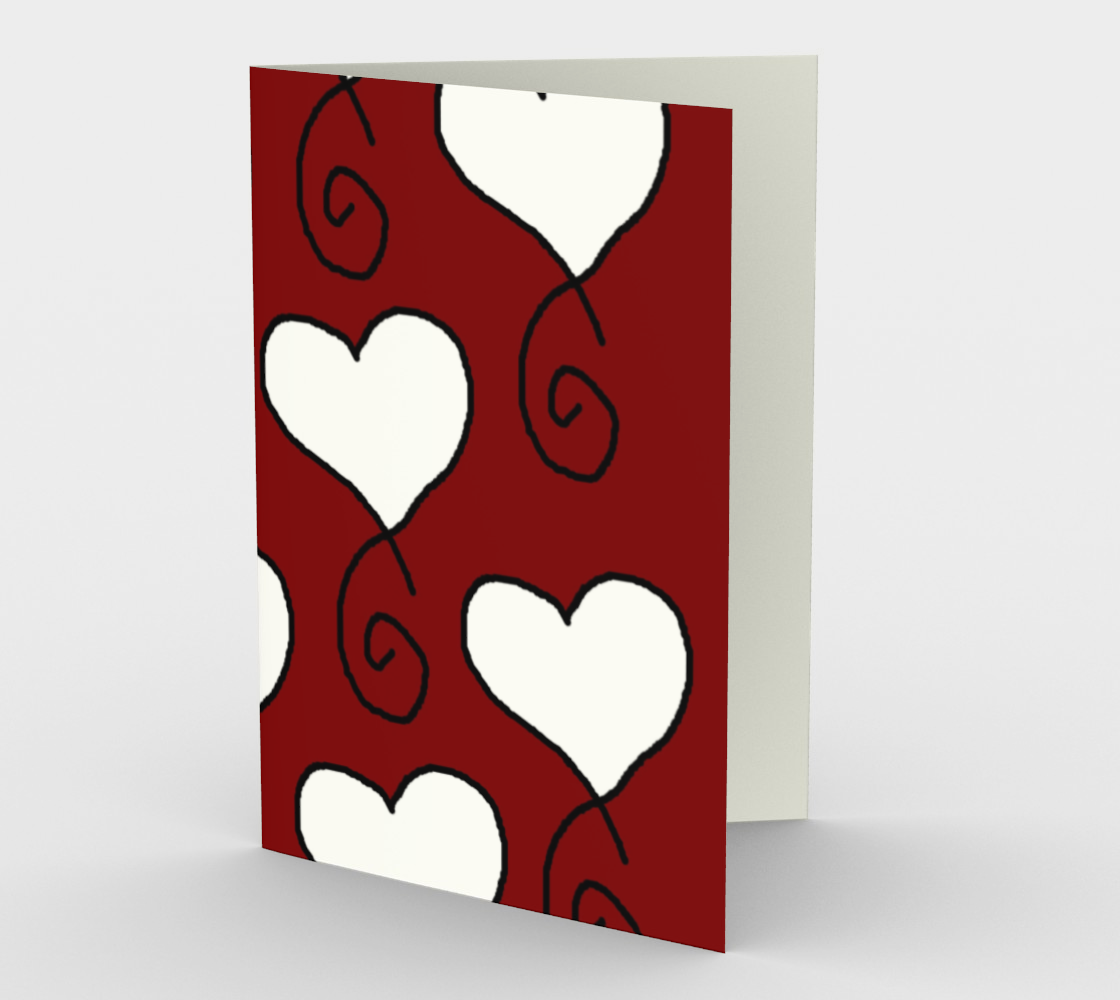 dark red with white hearts stationary greeting card preview