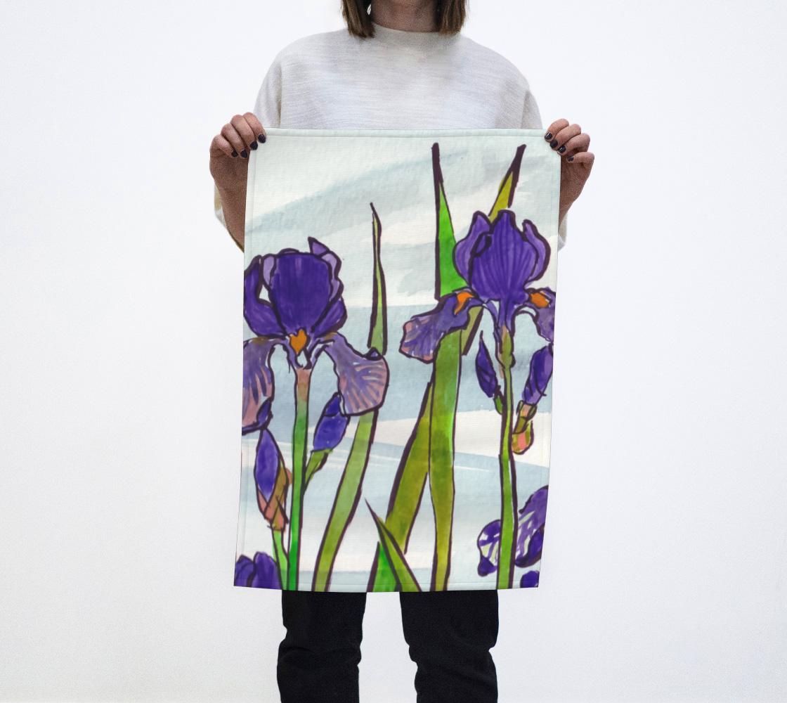 Watercolor Irises Tea Towel aperçu