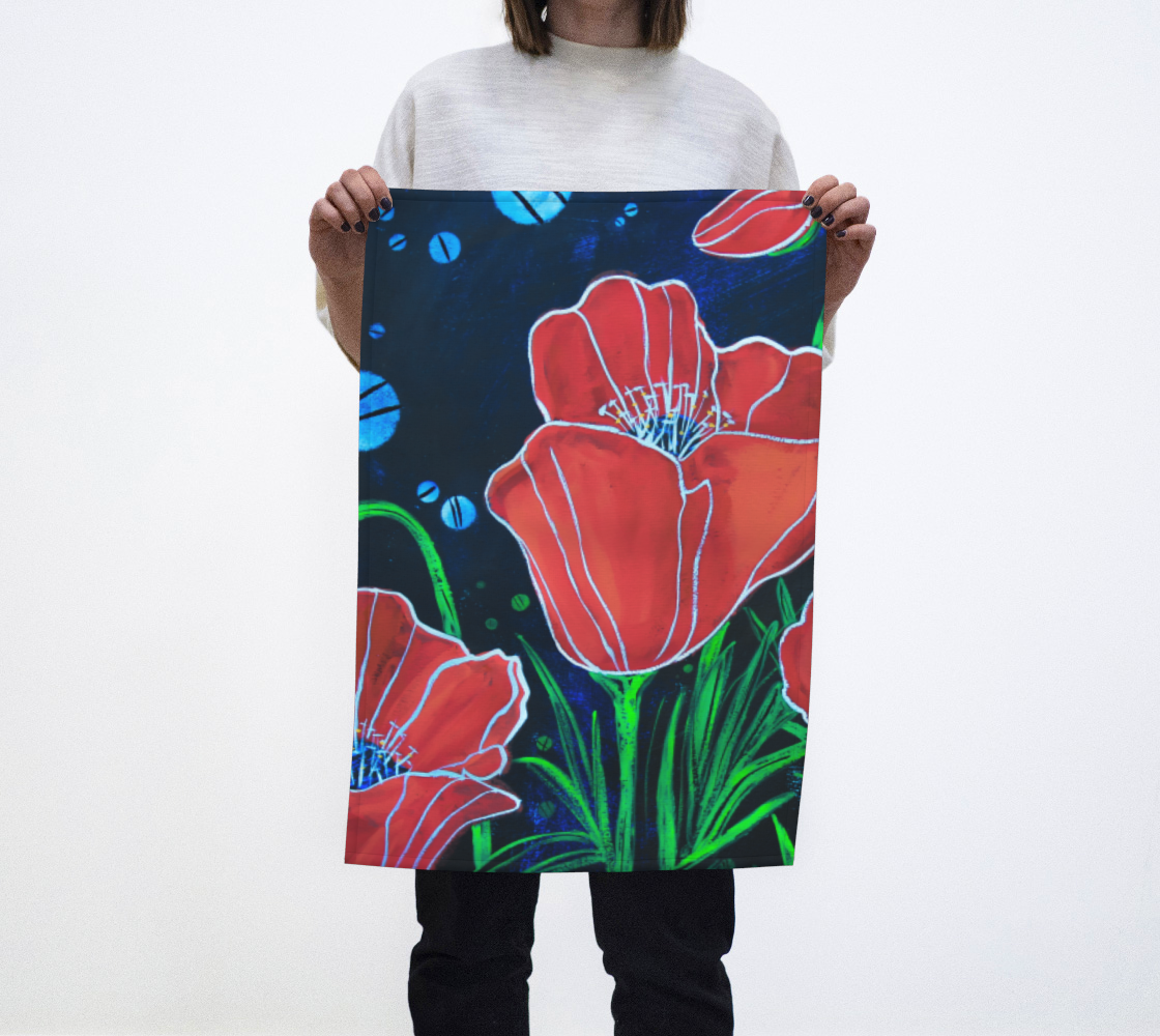 Poppies 2 Tea Towel aperçu