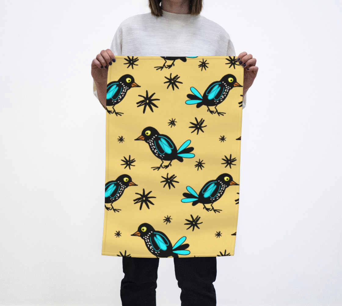 Funny Birds Yellow Tea Towel aperçu