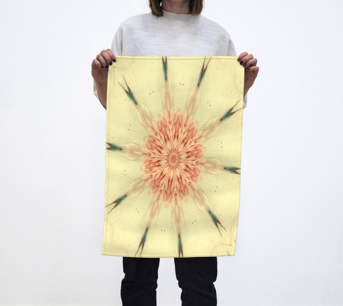 Coral Rose Kaleidoscope Tea Towel aperçu