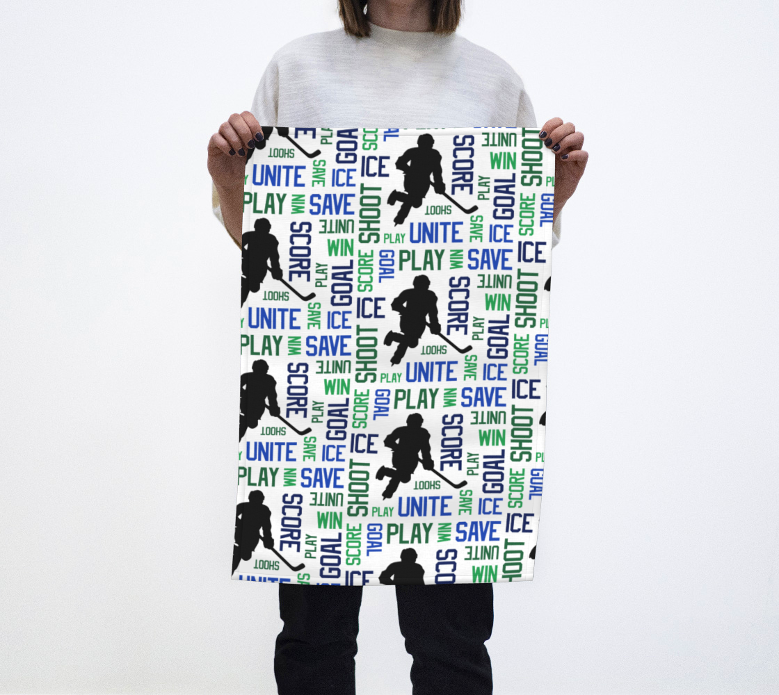 For the Love of Hockey Tea Towel - Blue & Green preview