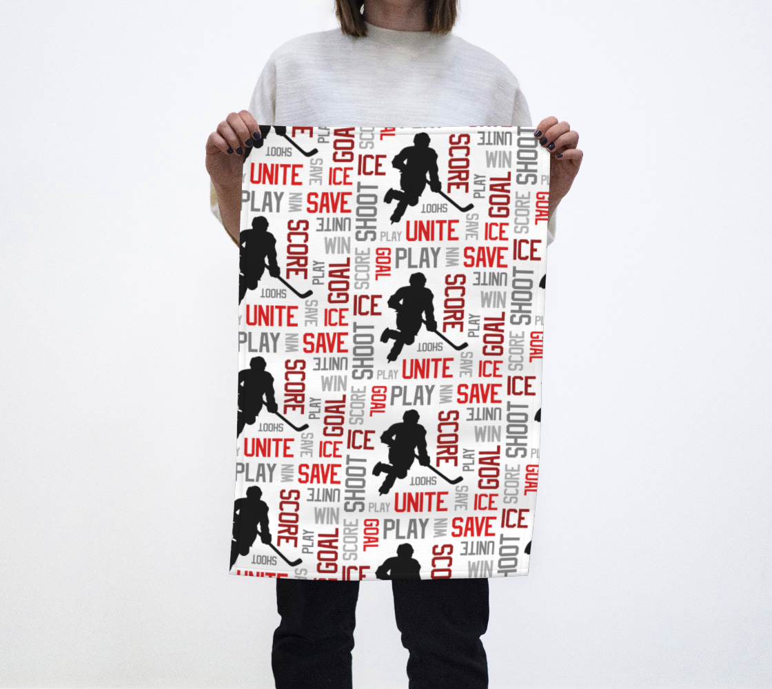 For the Love of Hockey Tea Towel - Red preview