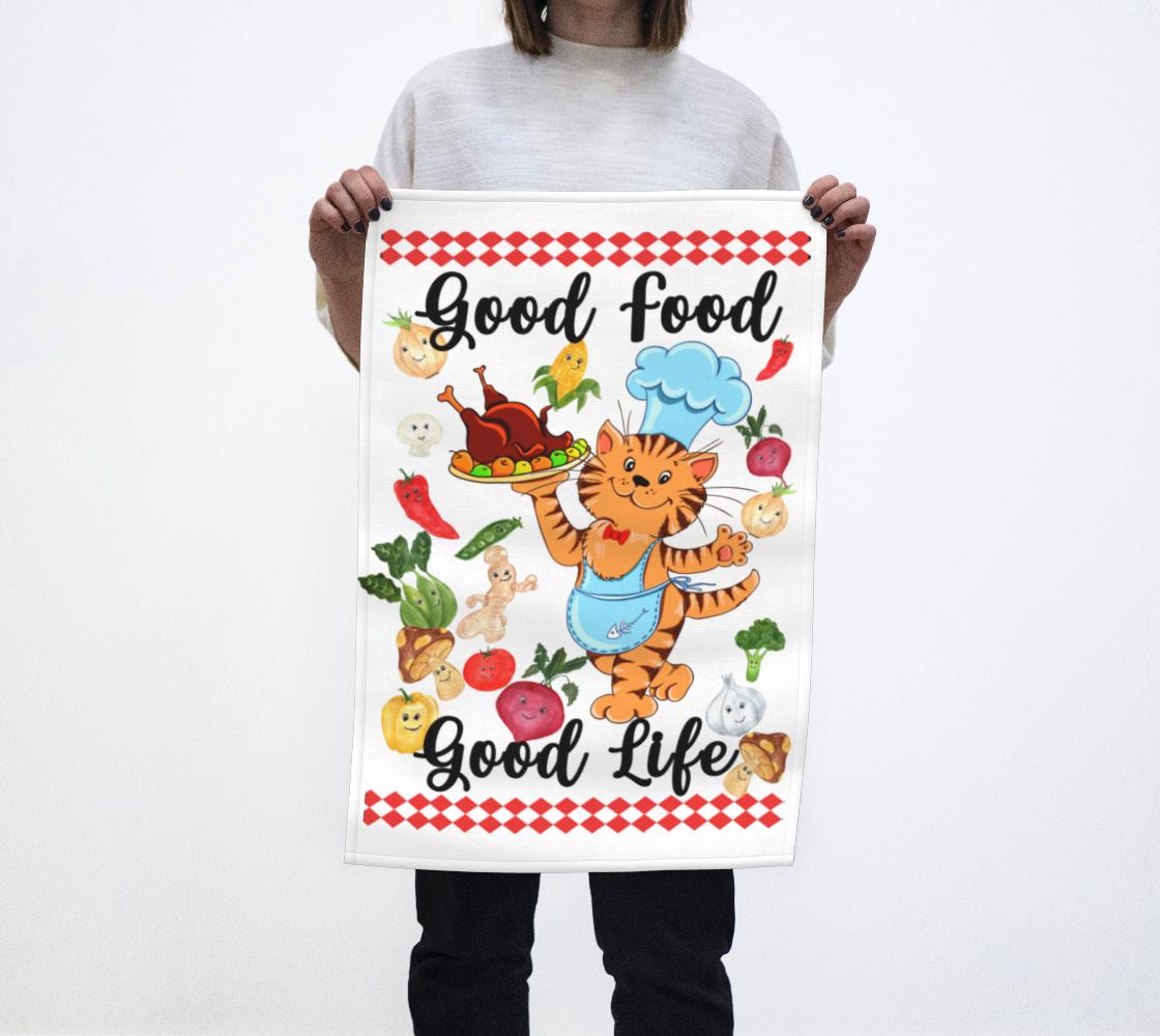 Aperçu de good food cat chef tea towel