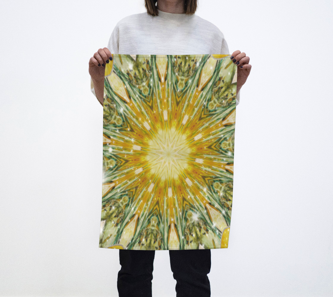 Aperçu de Yellow Green Kaleidoscope Tea Towl