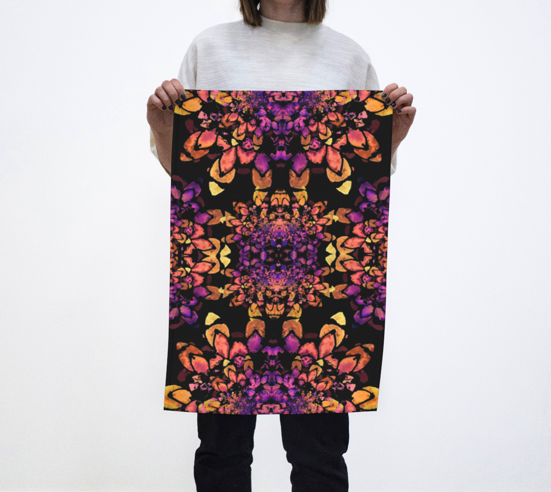 Bronze and Purple Abstract Mandala Pattern Tea Towel preview