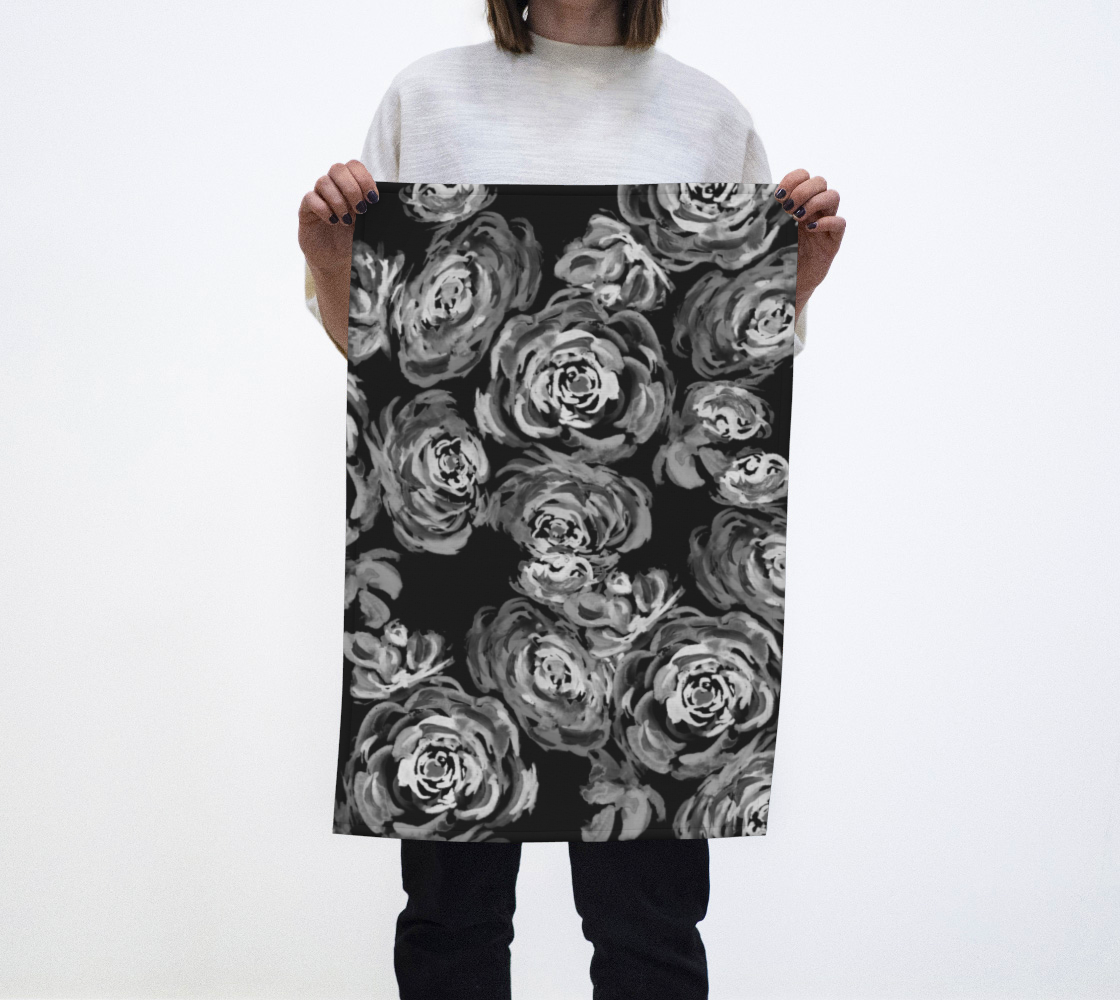 Monochrome Roses Pattern Teal Towel preview