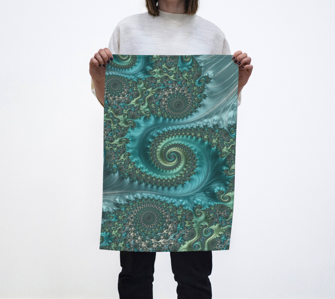 Feathery Flow Teal Tea Towel  preview