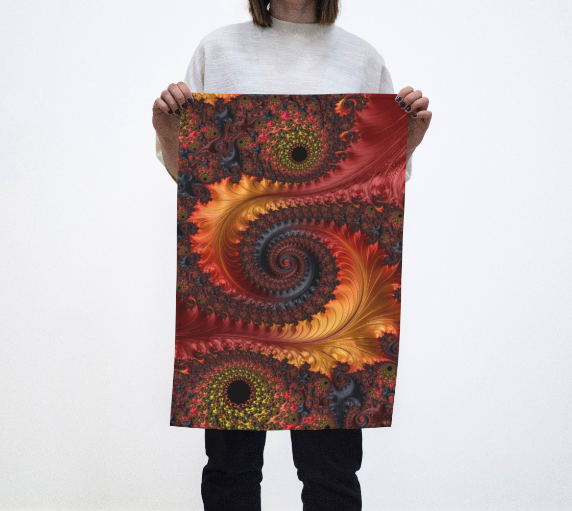 Feathery Flow Red Tea Towel  preview
