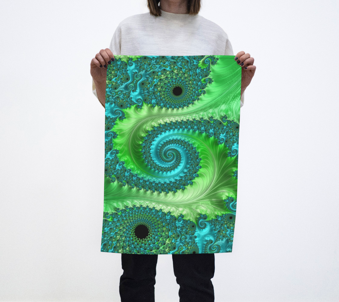 Feathery Flow Green Tea Towel  preview