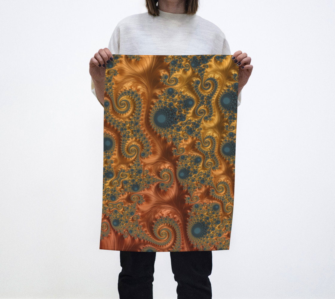 Copper Leaves Teal Tea Towel  preview