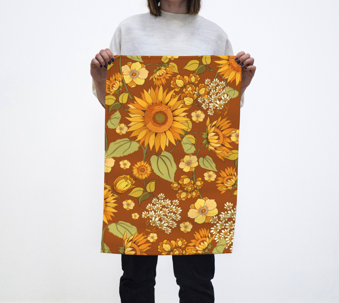 70s Sunflower teatowel preview