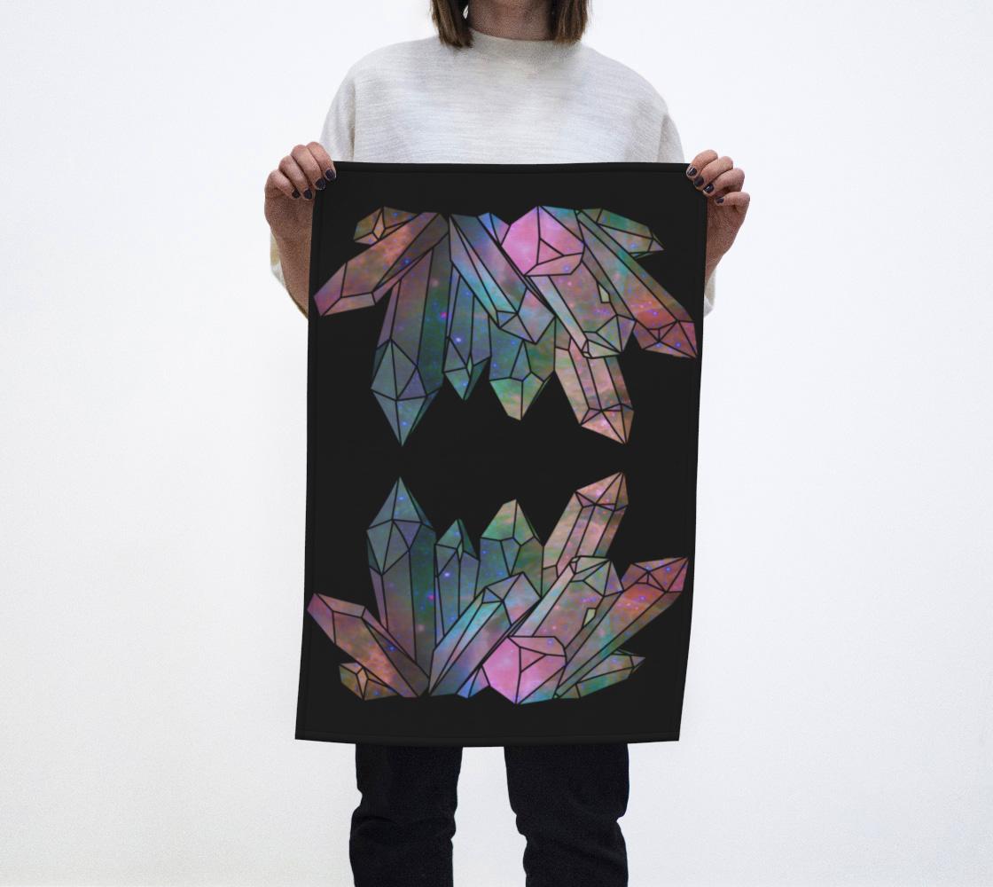 Cosmic Crystals Unicorn Rainbow Aura Tea Towel Black preview