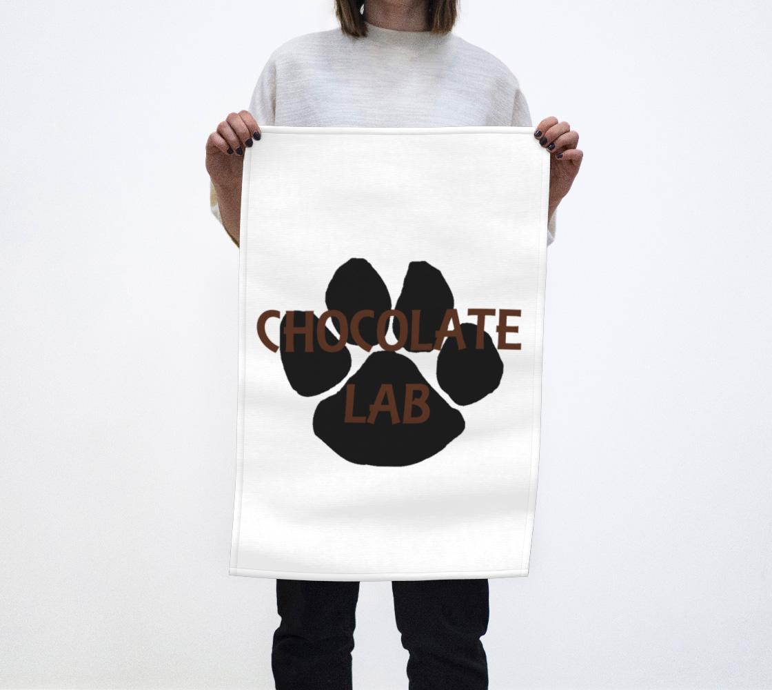 Labrador Retriever chocolate name paw tea towel preview