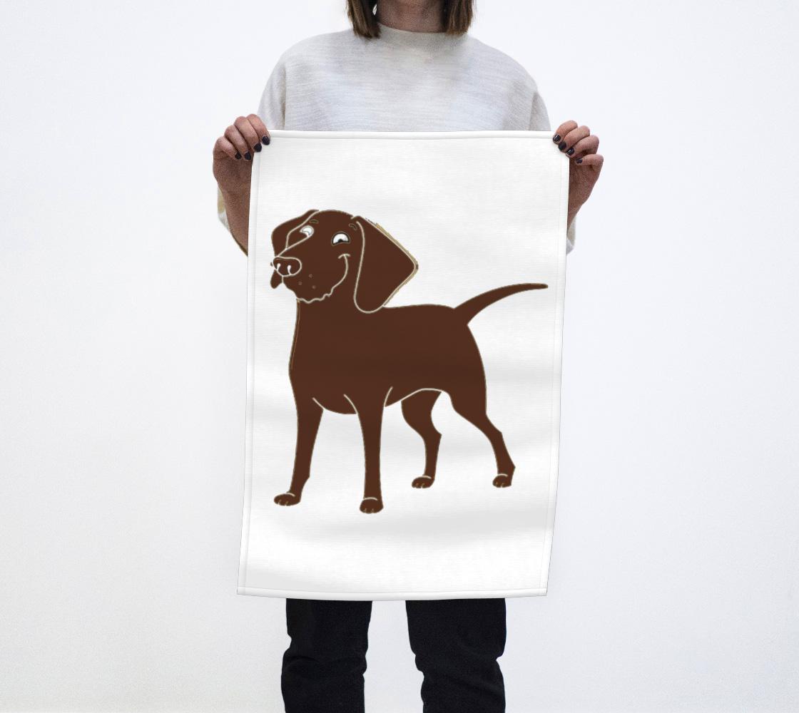 Labrador Retriever chocolate cartoon tea towel preview