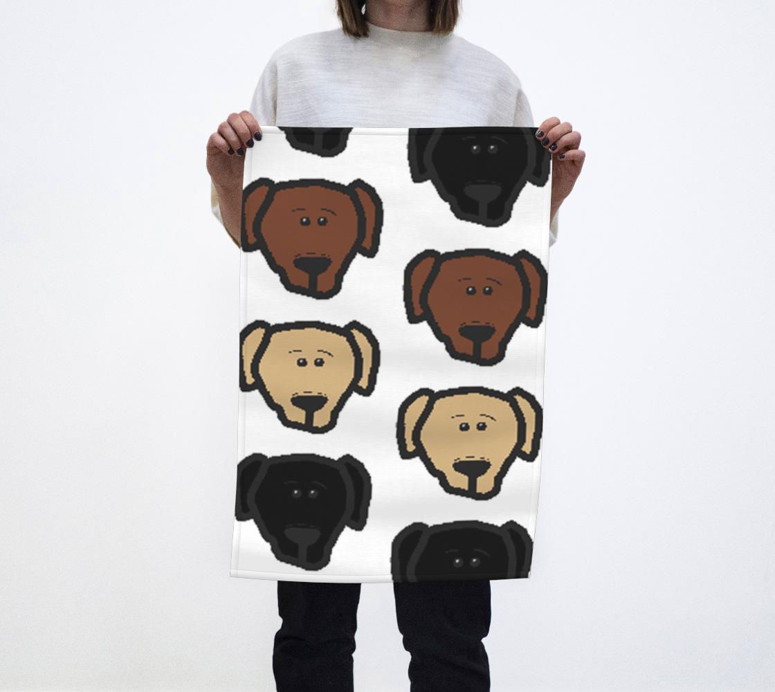 Labrador Retriever all 3 colors cartoon heads tea towel preview