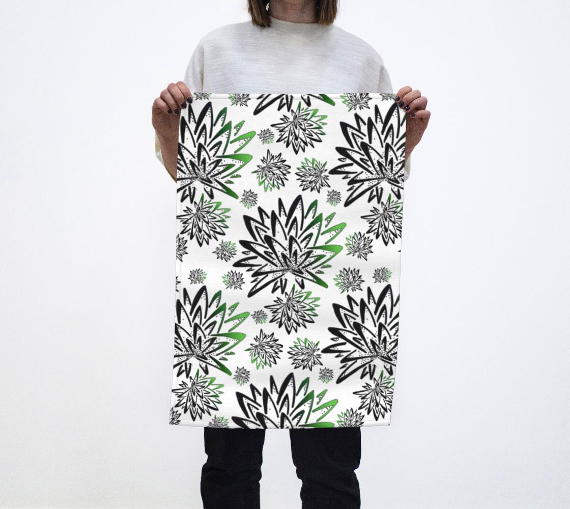 Aperçu de Abstract Green Thistles Pattern Tea Towel