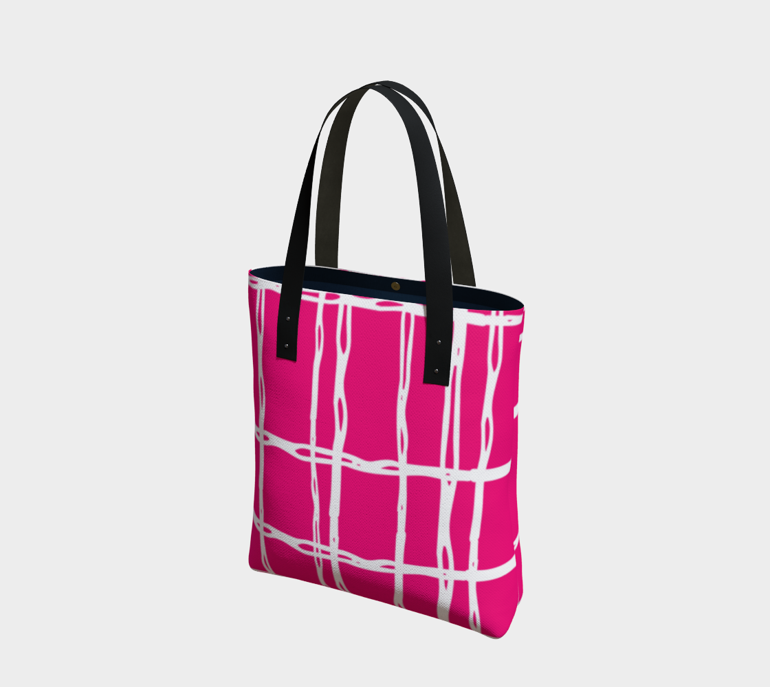 Aperçu de Pink and White Geometric Line Pattern Tote Bag
