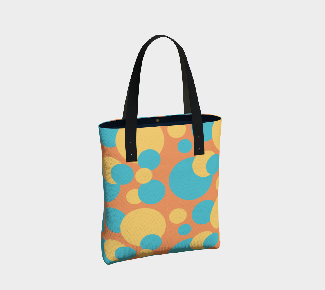 Retro Tote Bag in Blue and Yellow Dot Pattern preview #2
