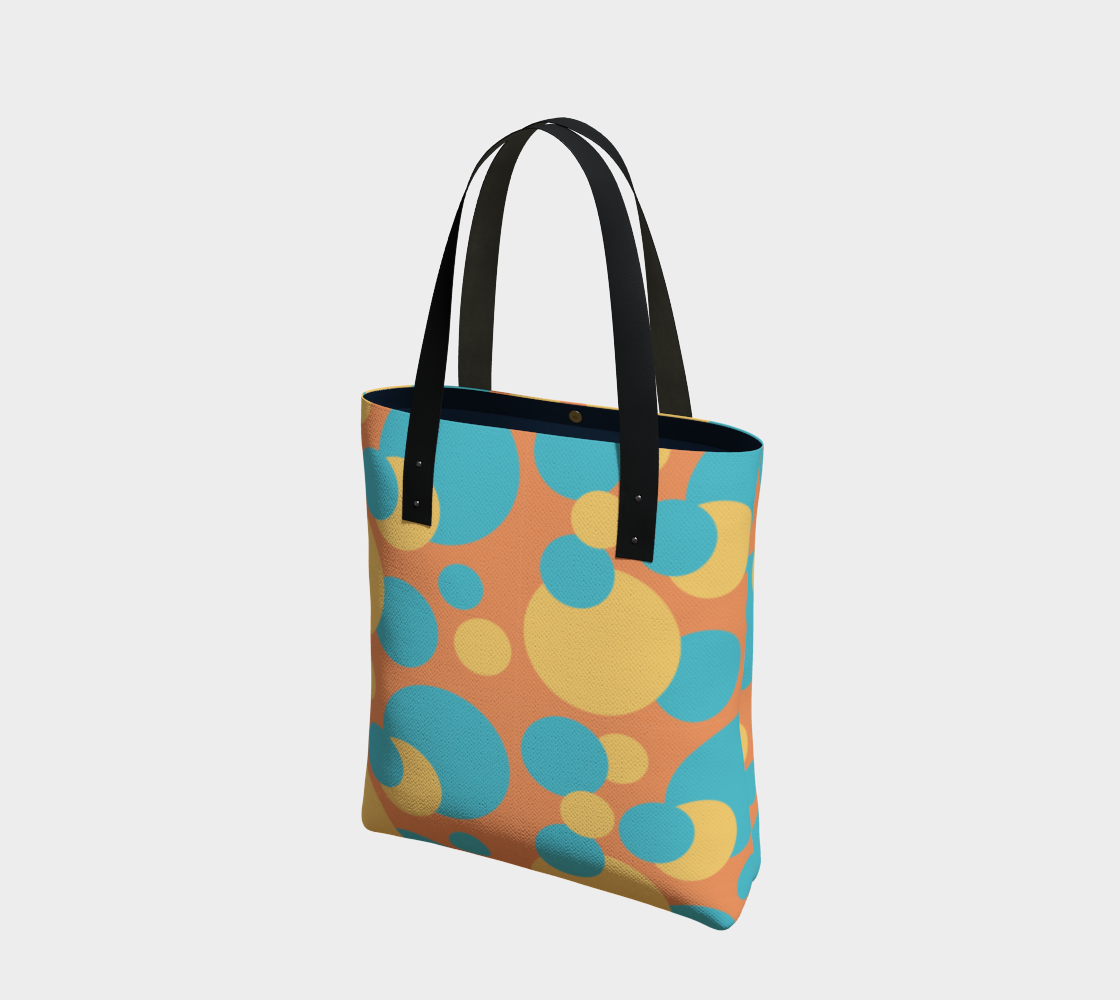 Retro Tote Bag in Blue and Yellow Dot Pattern preview #1