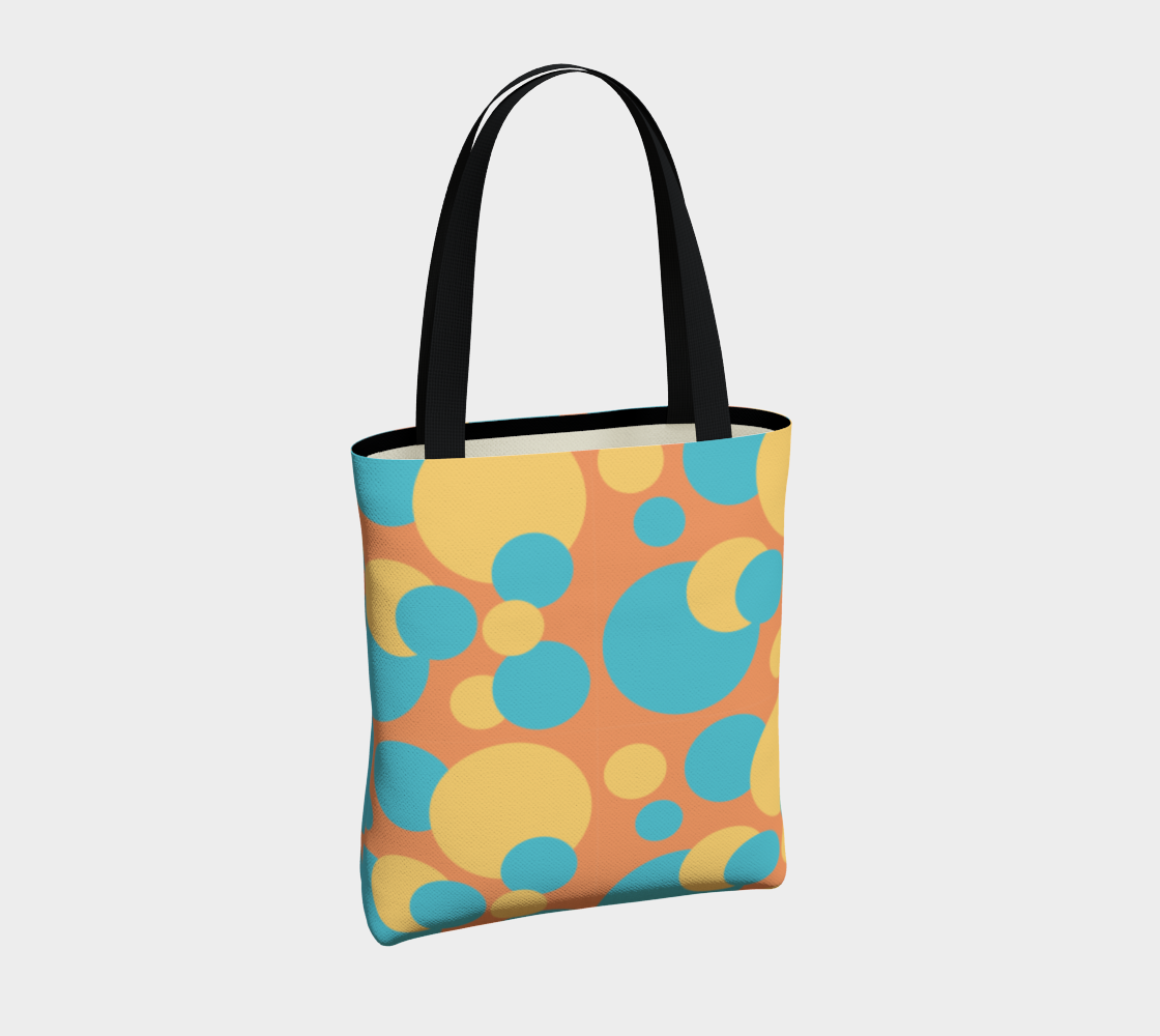 Retro Tote Bag in Blue and Yellow Dot Pattern preview #4