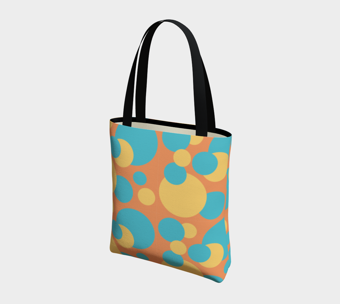 Retro Tote Bag in Blue and Yellow Dot Pattern preview #3