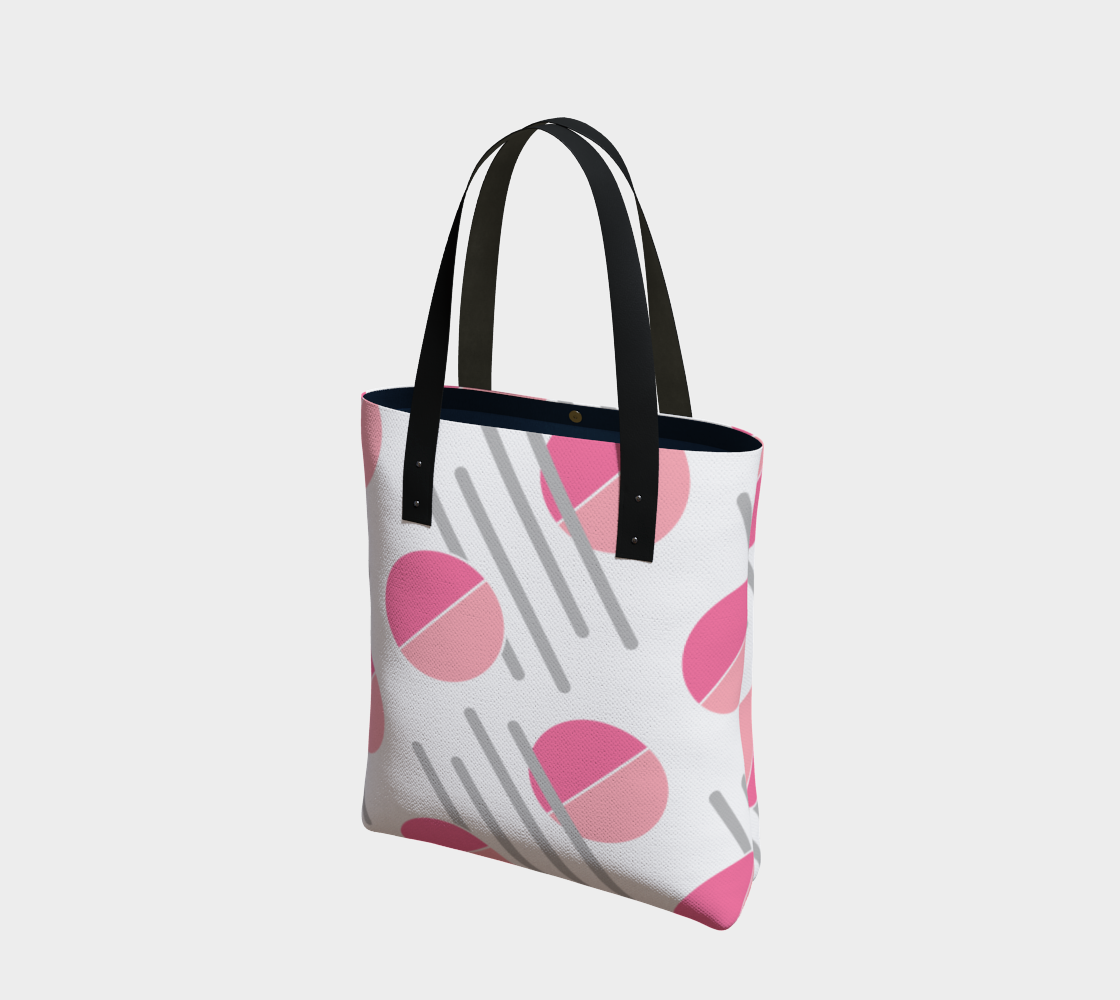 Modern Pink Circle Grey Line Abstract Tote Bag preview