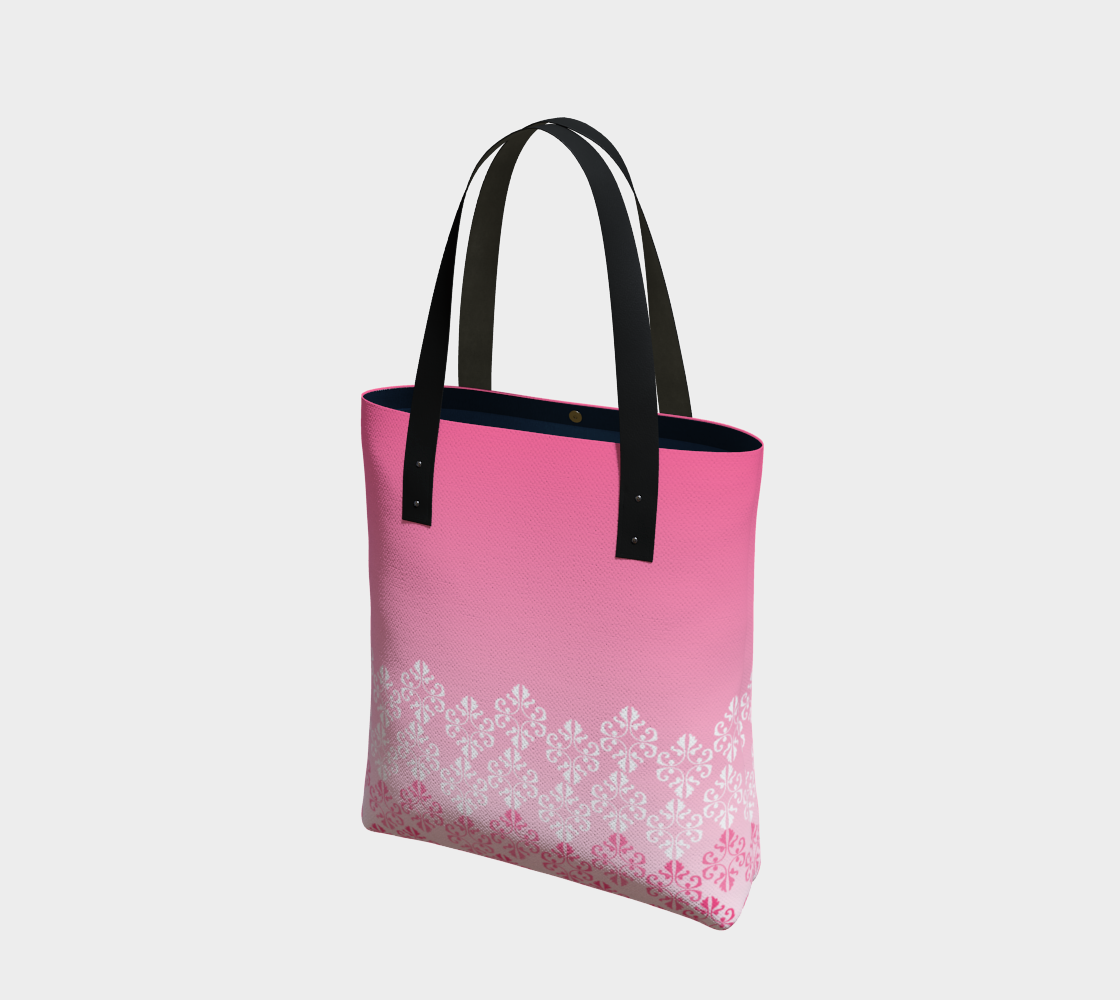Pink Ombre Damask Pattern Tote Bag preview