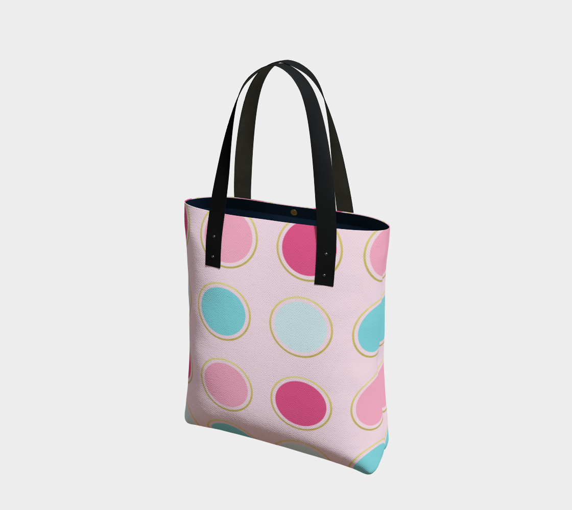 Pink and Teal Polka Dot Tote Bag preview