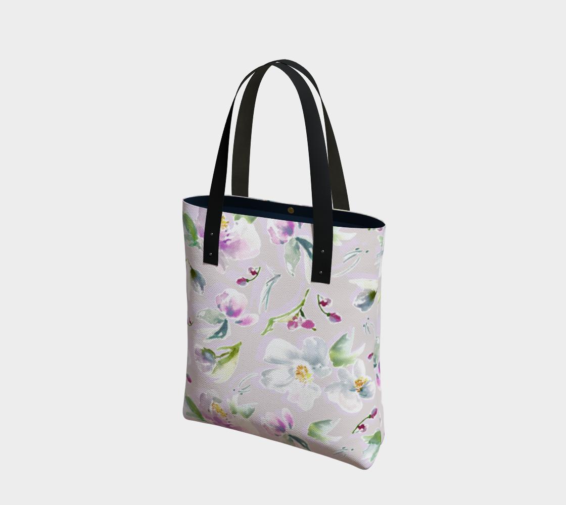 Aperçu de Lilac, Purple, and White Floral Tote