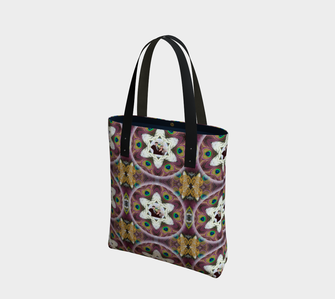 Custom Peacock Wedding Bouquet Tote 2 preview