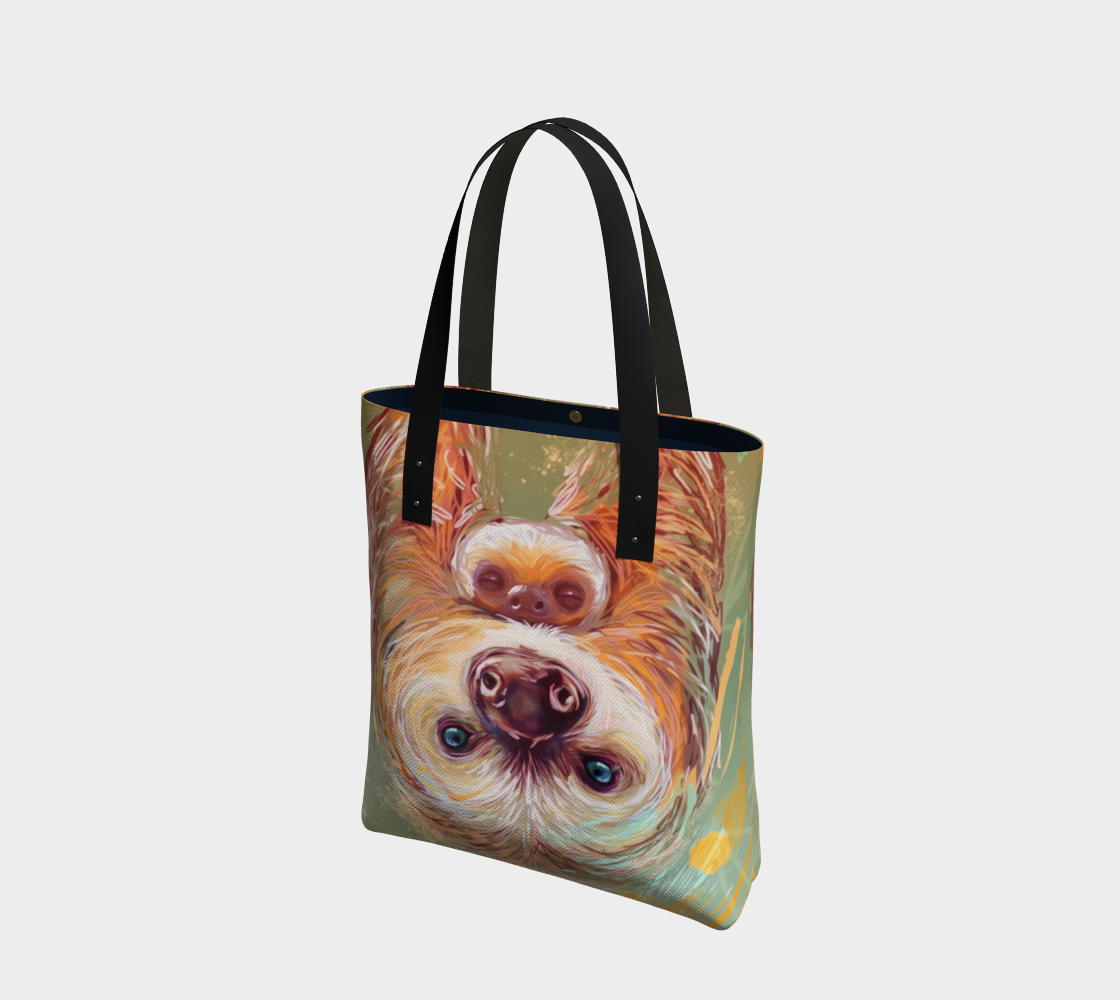 sloth mama canvas tote preview