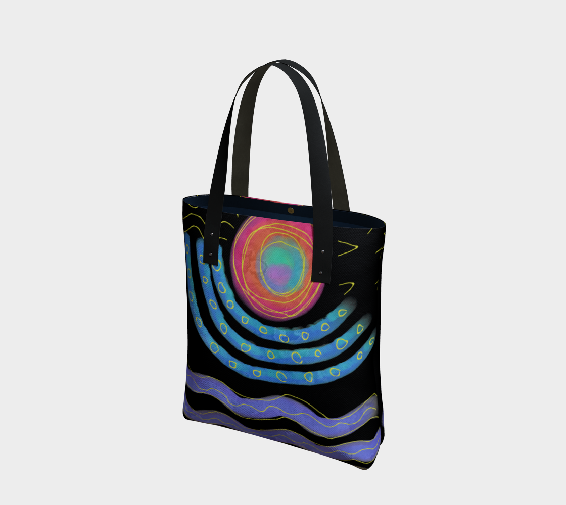 Colorful Abstract Sun Digital Print Shoulder Bag preview