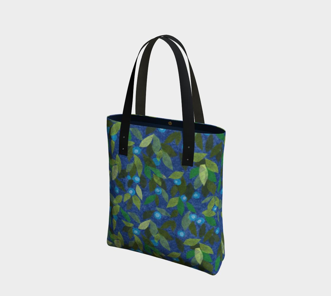 Aperçu de Blue Berries Green Leaves Simple Botanica Floral Pattern Tote Bag