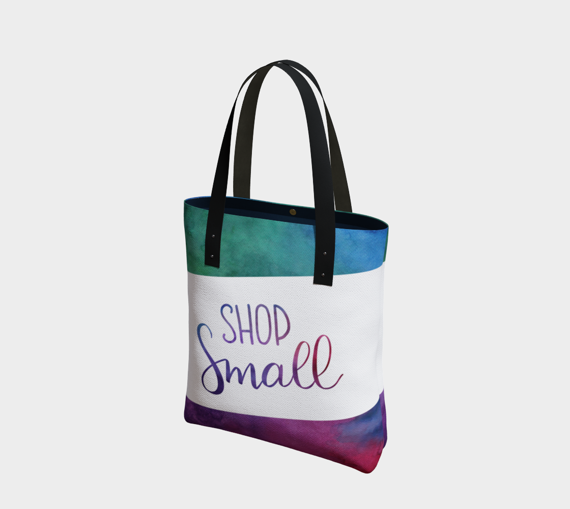 Shop Small - multicolour watercolour background with white banner preview