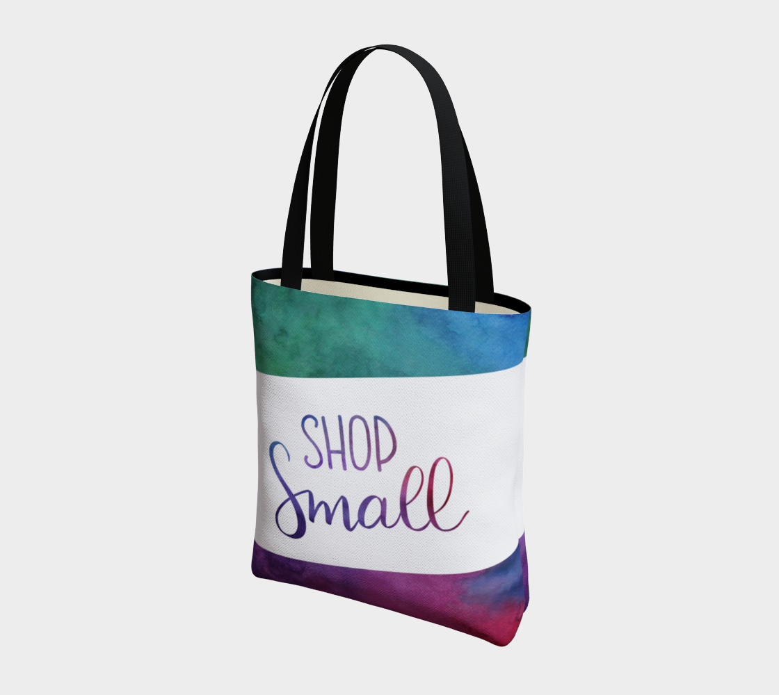 Shop Small - multicolour watercolour background with white banner preview #3