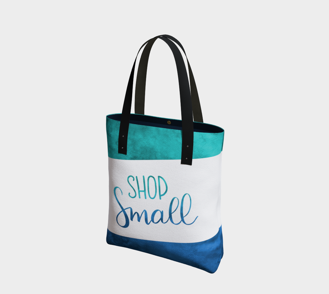 Shop Small - green-blue watercolour background with white banner preview