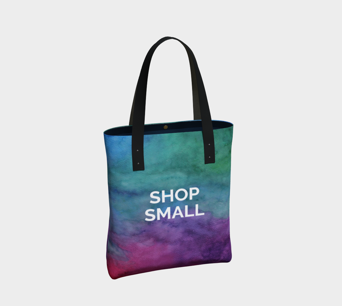 Shop Small - multicolour watercolour background with white text preview #2