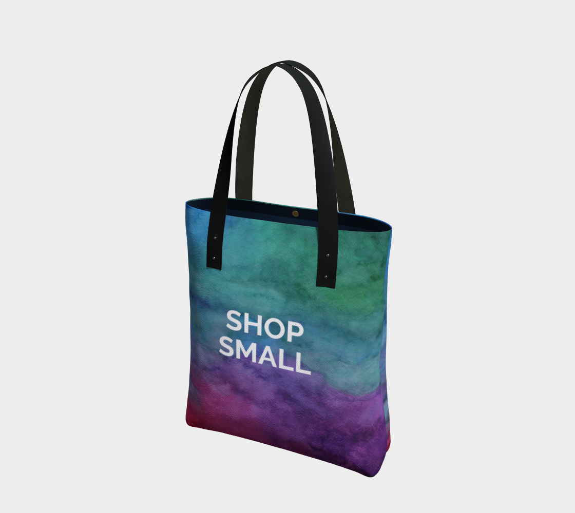 Shop Small - multicolour watercolour background with white text preview