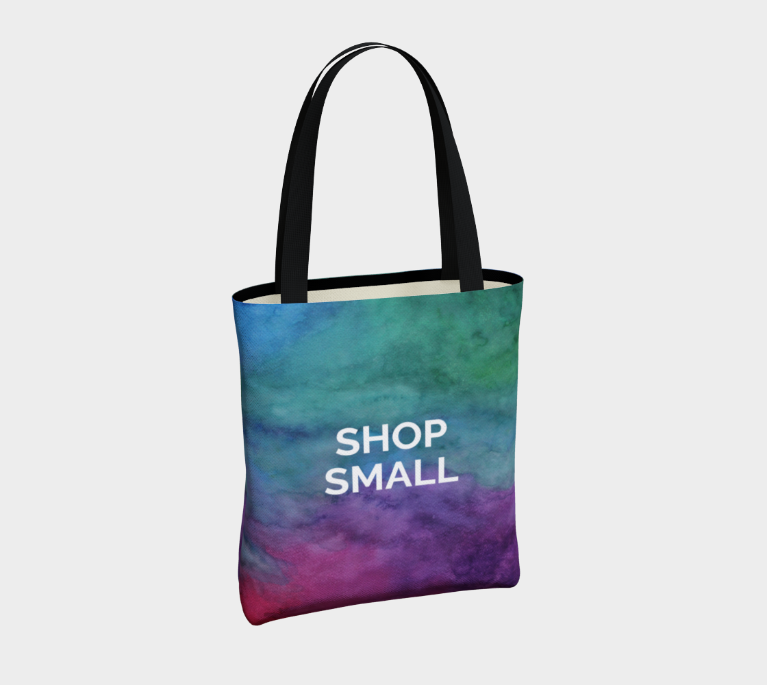 Shop Small - multicolour watercolour background with white text preview #4