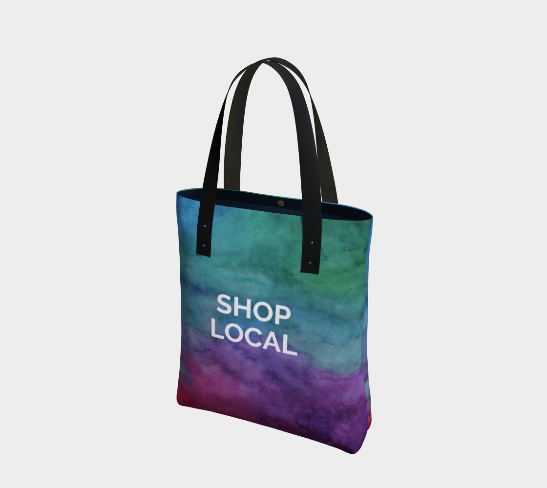 Shop Local - multicolour watercolour background with white text preview