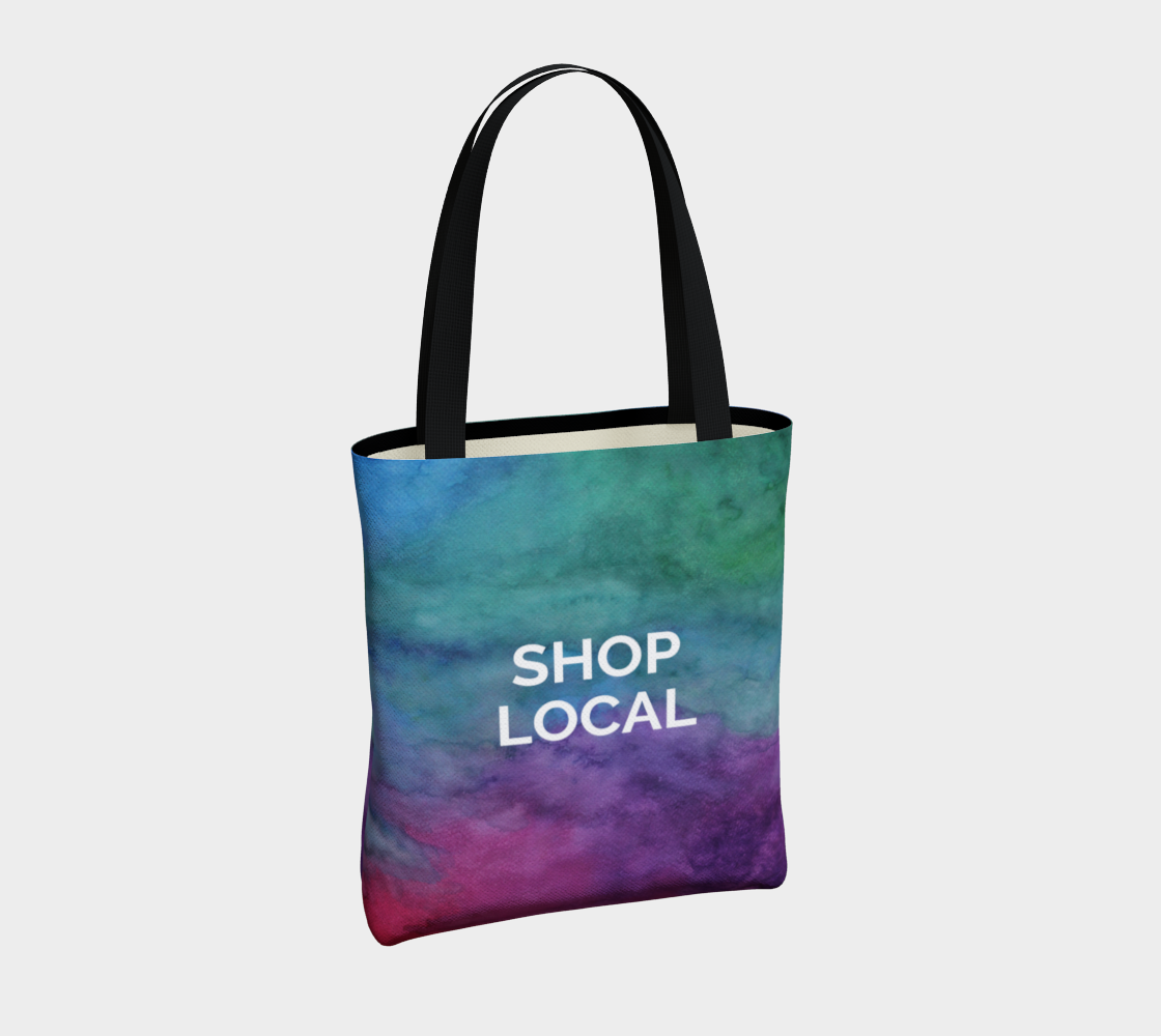 Shop Local - multicolour watercolour background with white text preview #4