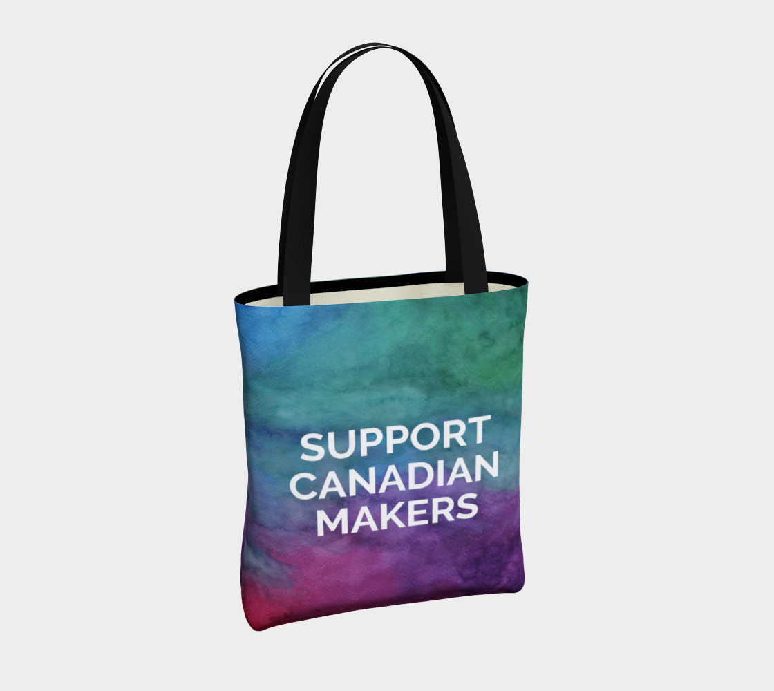 Support Canadian Makers - multicolour watercolour background with white text preview #4