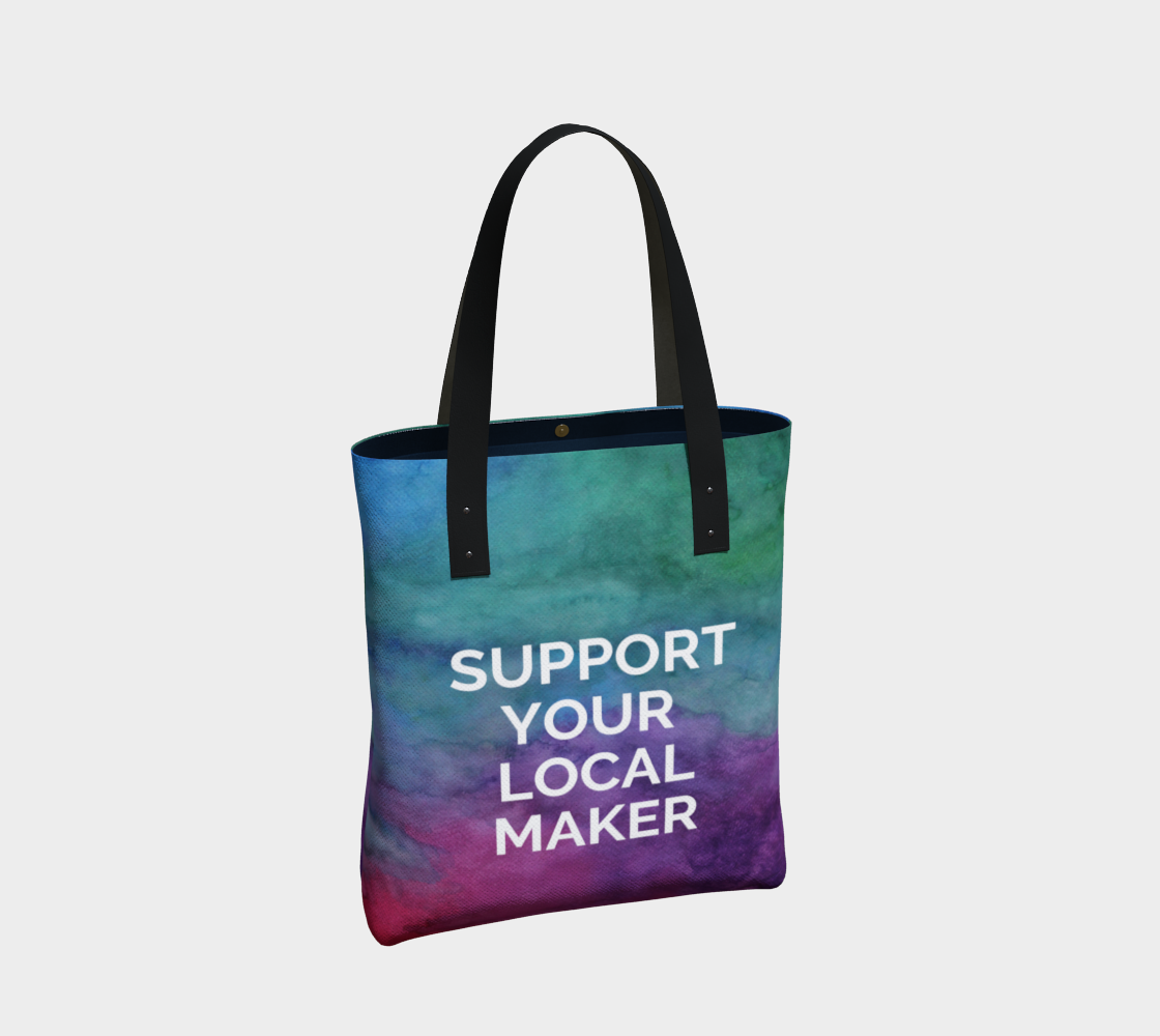 Support Your Local Maker - multicolour watercolour background with white text preview #2