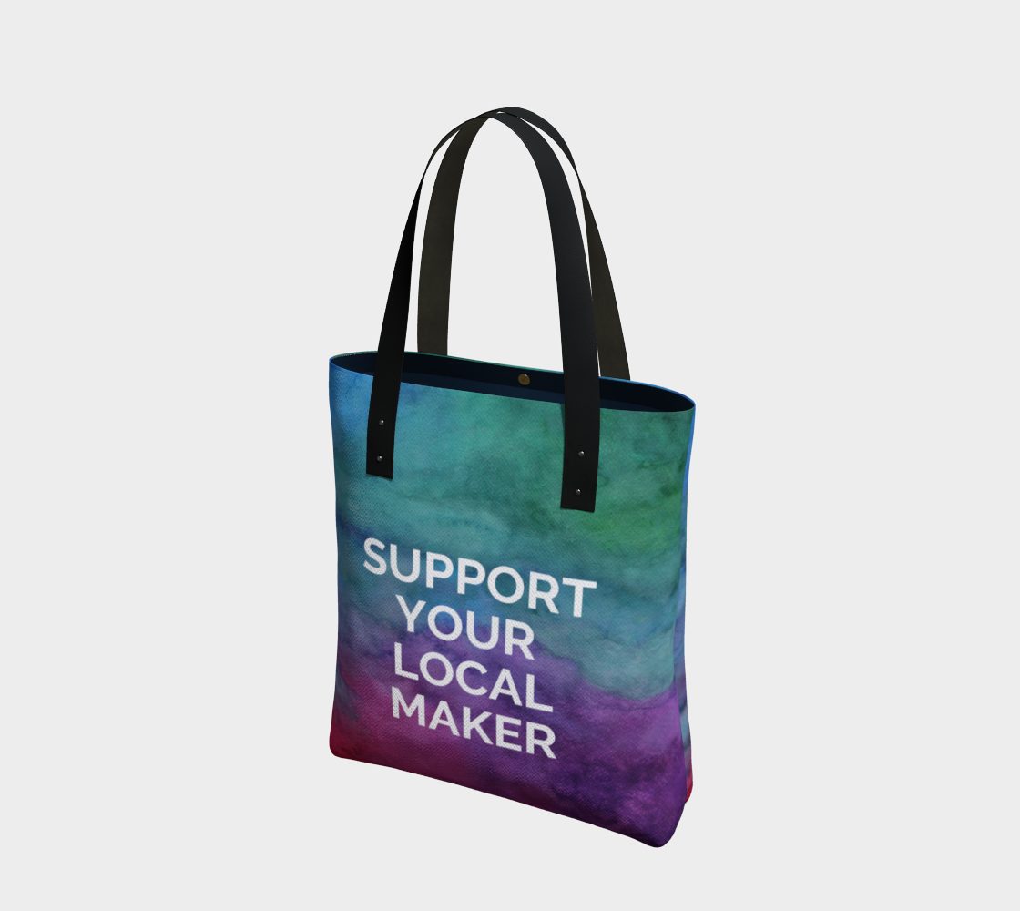 Support Your Local Maker - multicolour watercolour background with white text preview