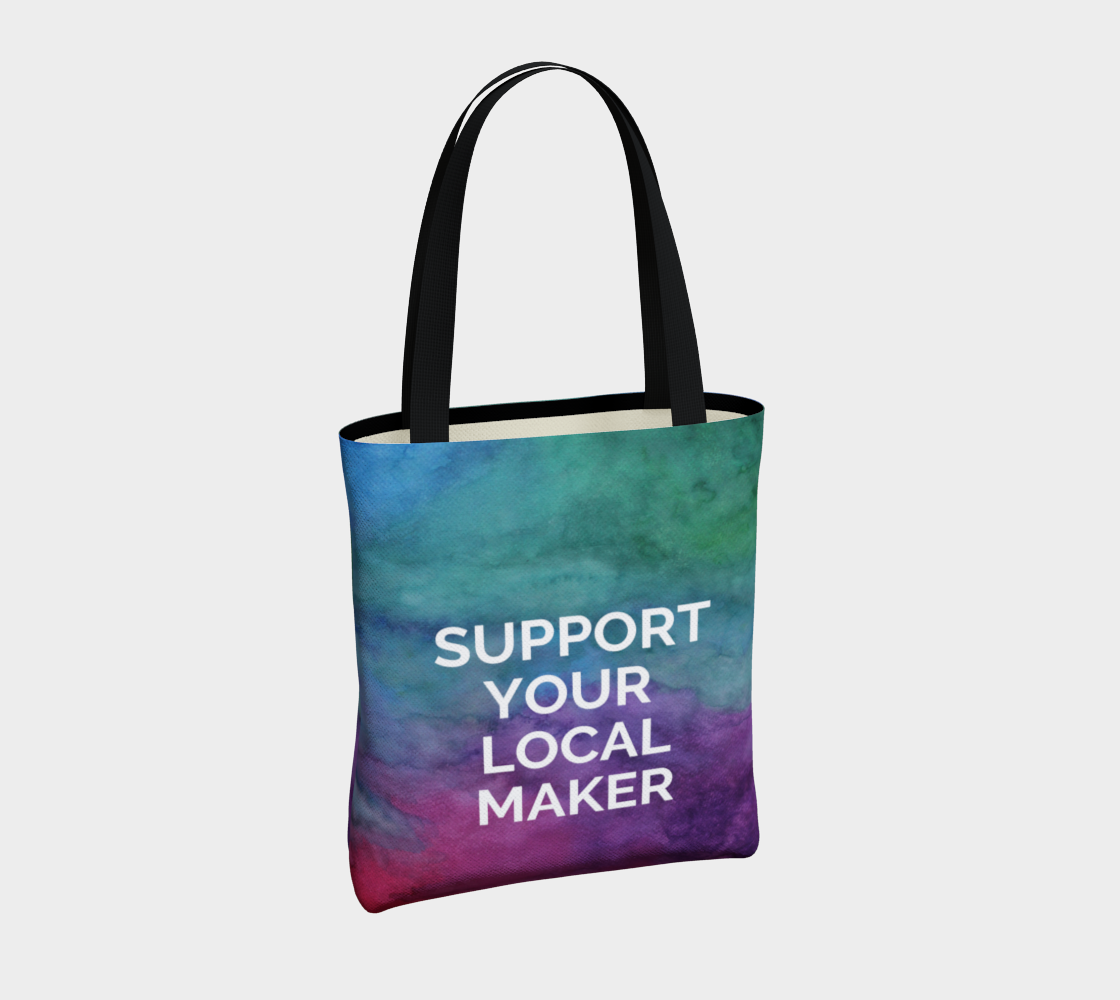 Support Your Local Maker - multicolour watercolour background with white text preview #4