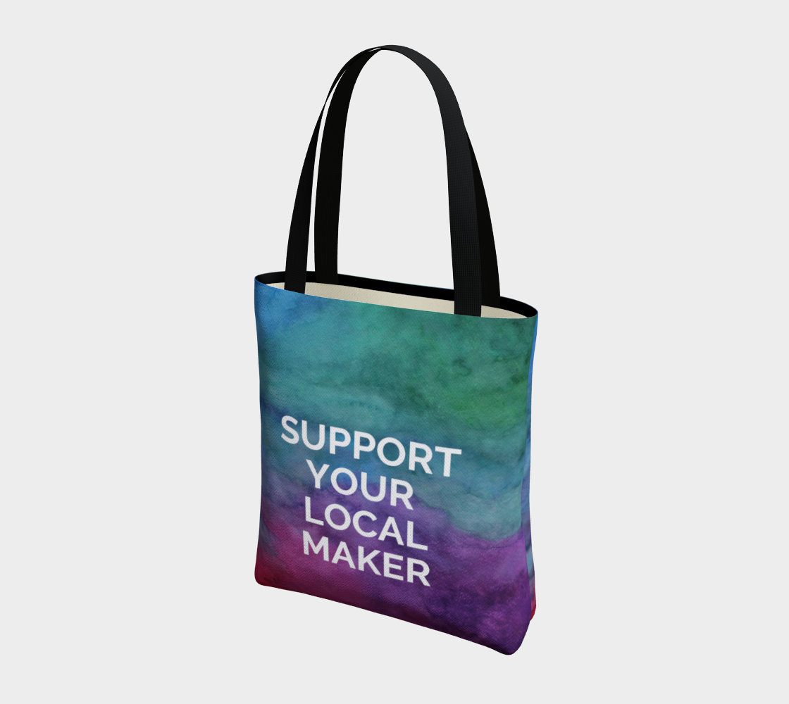 Support Your Local Maker - multicolour watercolour background with white text preview #3