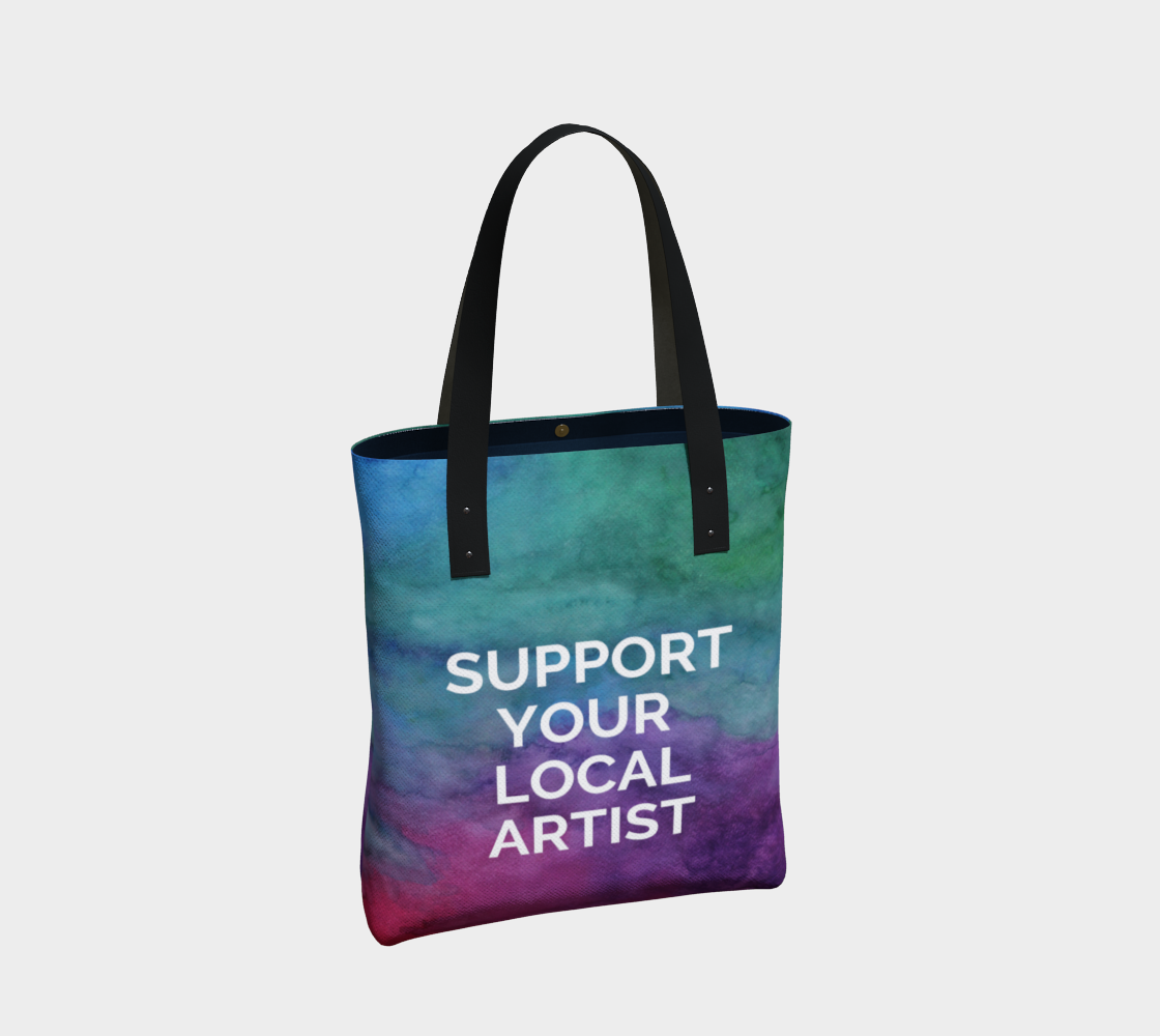 Support Your Local Artist - multicolour watercolour background with white text preview #2