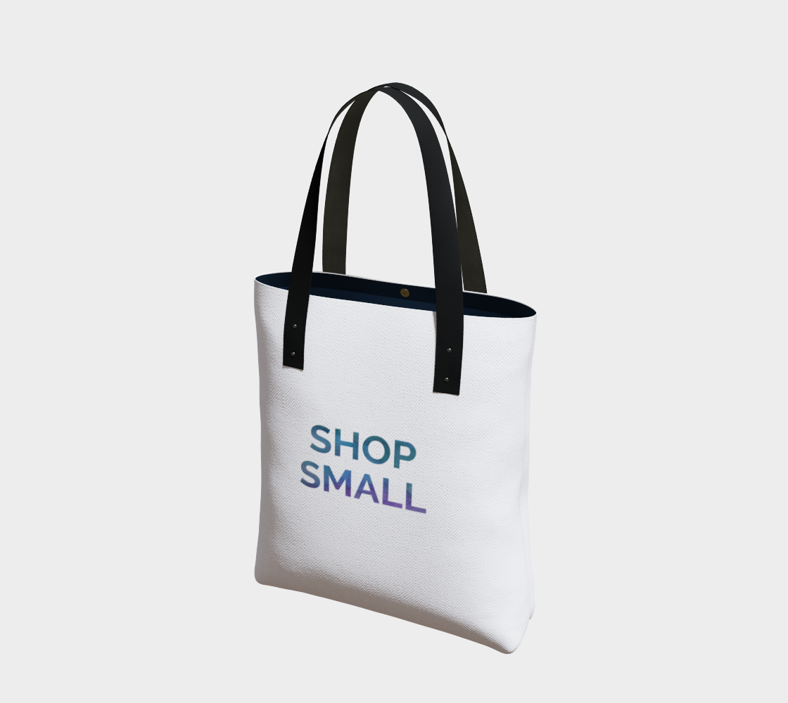 Shop Small - white background multicolour text preview
